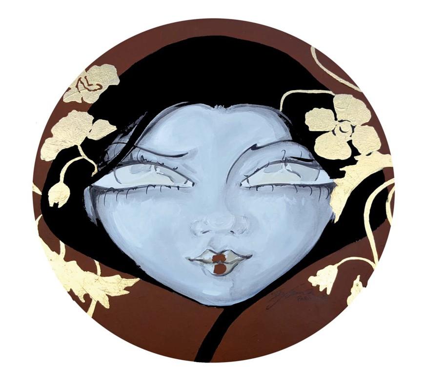 Divine Women, 60 cm radius, Acrylic on canvas and golden leaves, Paris, 2017