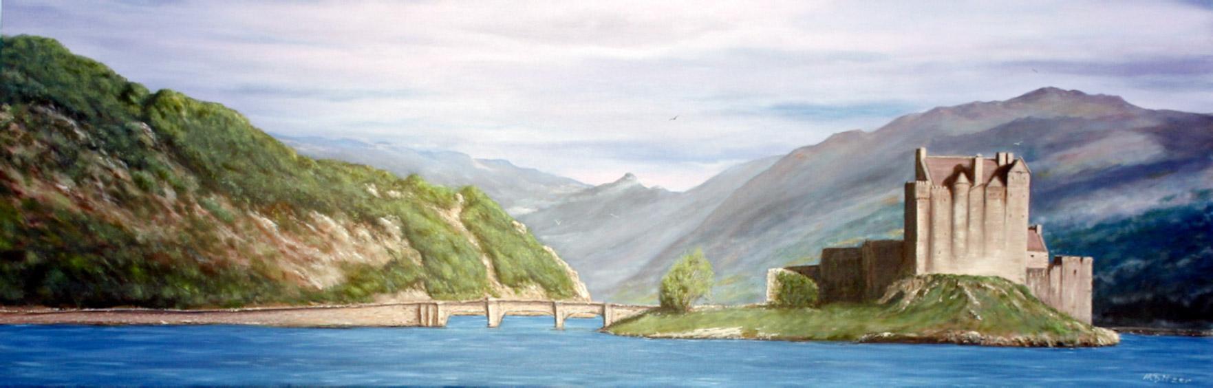Eileen Donan Castle Highlands / Scotland, 40 x 120 cm, Oil on canvas